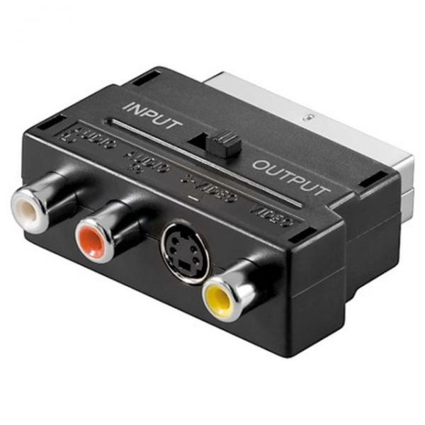 SCART Adapter Cinch Adapter 3x Cinch Audio Video IN / OUT Schalter Video Adapter